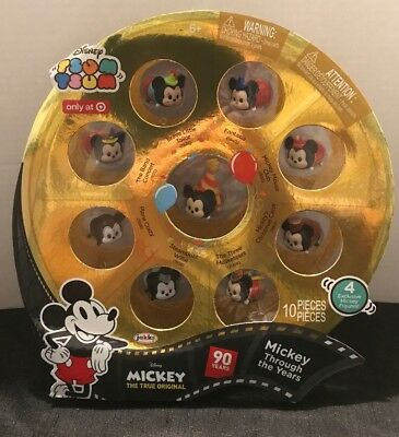 Disney Tsum Tsum Mickey Mouse thru The Years 10 Pce 90th Bday Steamboat Willie