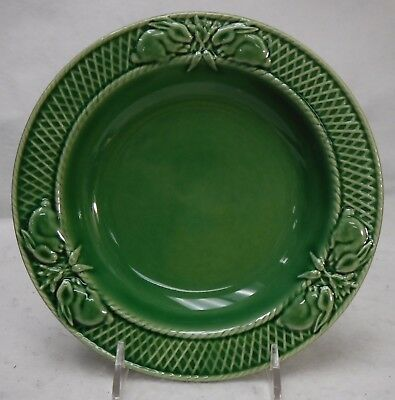 BORDALLO PINHEIRO Portugal RABBIT GREEN pattern Large Rim Soup Bowl  9-1/8""