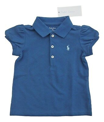 RALPH LAUREN Baby Girl Indigo Blue POLO Shirt TOP 12/18M puff sleeves 83cm BNWT