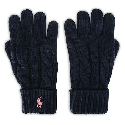 RALPH LAUREN Girls Cable knit GLOVES * 4-7 Years navy with pink pony BNWT