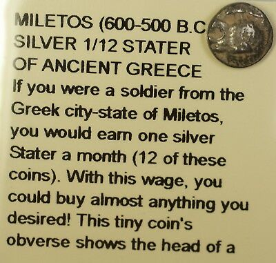 550- 500 BC Ionia Miletos 1/12 Silver Stater Greek City State Coin Littleton