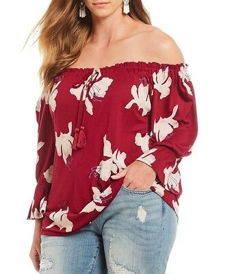 88220d73391b84 Lucky Brand Plus Size Women s Floral Print Off the Shoulder Top New Red 2X