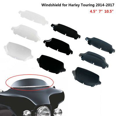 "4.5"" 7"" 10.5"" Wave Windshield Windscreen Upper Fairing for Harley Touring 14-17"