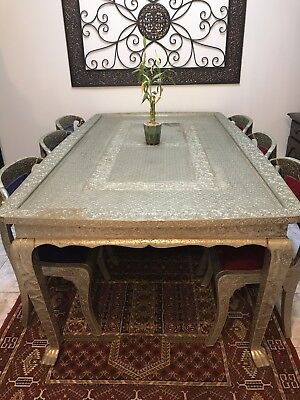 Elegant White Metal Silver Table and Chairs