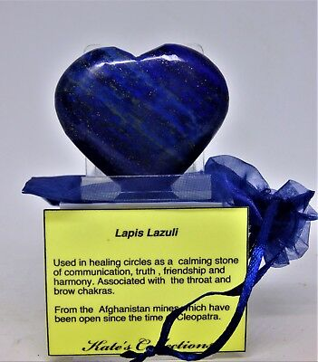 Choose  Numbered Lapis Lazuli  Heart Deep Blue 45 to 55 mm +Bag + Stand