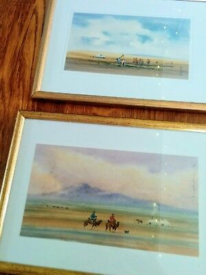 Pair Of Antique original Water Colour Paintings of Desert Tribesmen 1930s