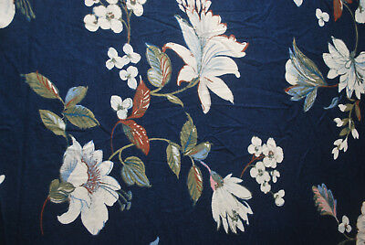 07ba9f8fb22 Rayon Spandex Knit Jersey Fabric Beautiful flowers Print Navy Multi by the  yard
