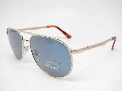 84c2322410 Persol PO 2455-S 1076 56 Gold with Light Blue Sunglasses 2455S 60mm