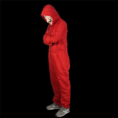 Salvador Dali La Casa De Papel Money Heist Red Jumpsuits Mask Costume Cosplay