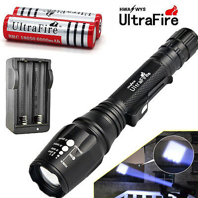 Ultrafire 50000Lm 5Mode T6 LED  Focus Flashlight Torch +18650 Battery+Chargers