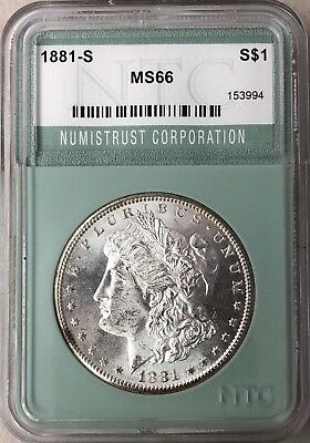 1881 S Morgan Silver Dollar Coin - NTC MS 66, Gem, Fast Shipping