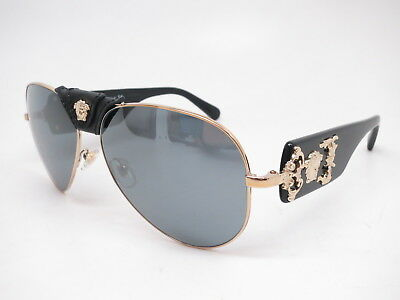 c6e5bb4306 New Versace VE 2150Q 1252 6G Pale Gold w Grey Mirror Black Leather  Sunglasses