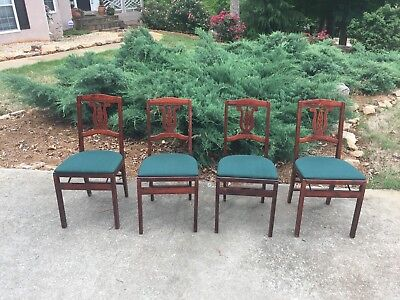 Rare Set 4 Vintage Antique MID CENTURY STAKMORE Aristocrat Folding Dining Chairs
