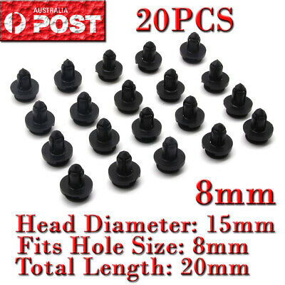 20X Car Plastic 8Mm Clips Rivet Push Fit Door Boot Trim Panels Bumper Fastener A