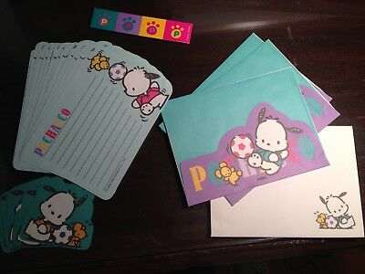 Vintage Pochacco Letter Envelope Sticker Set 1995 Sanrio Soccer Green Purple