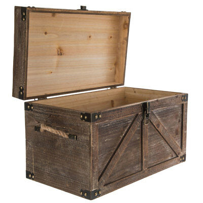 Brown Country Rustic Wood Storage Trunk Wooden Chest Organizer Nib