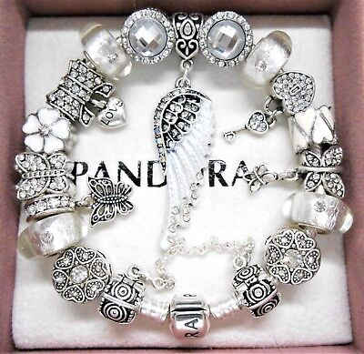 Authentic Pandora Silver Charm Bracelet White Angel Love Heart European Charms.