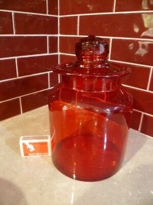 Vintage Red Glass Jar Canister Apothecary Cookie Storage Medium Christmas Bottle