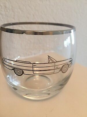 1960's Chevy Dealer Promotional Chevrolet Drinking Glass Etched Impala Convertib