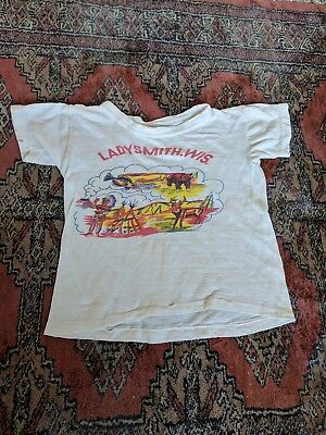 Kids Vintage T Shirt Childrens Souvenir Ladysmith Wisconsin Camping Deer 60s