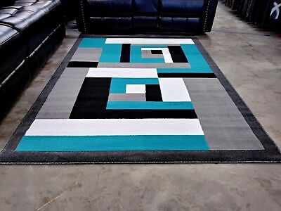 Modern Rug Contemporary Area 5x8 Turquoise Black White Abstract Rugs New