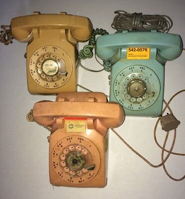 Vintage Pink Aqua Blue Lot Western Electric Bell System Rotary Desk Telephone