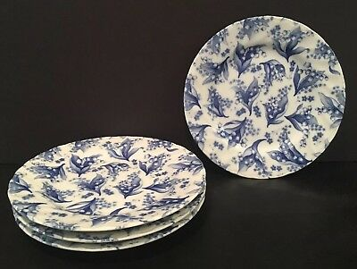 """VTG S/4 Blue Floral Canape Plates From T&T Table Collection By Tono 6-3/8"""" Japan"""