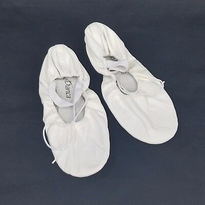 So Danca BA14 Adult Size 4.5M (Fits 7)  Full Sole Ballet Shoe White Leather