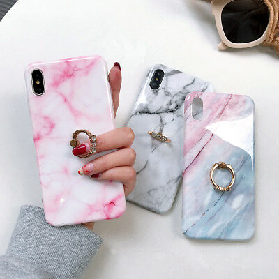 For iPhone XS Max X XR 7 8 6S 6 Marble Pattern Ring Holder Stand Soft Case Cover