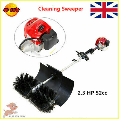 52CC 2.3HP Cleaning Sweeper Broom Driveway Walkway Grass 2Cycle Gas/Oil Powerful