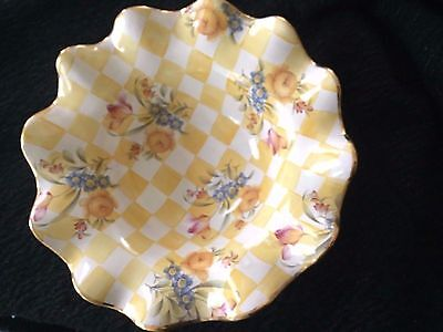 AUTHENTIC MacKenzie Childs Yellow Checkered Floral Platter/Bowl 12in Dandy Lion