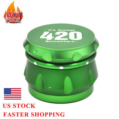 1 X New 4-Layers Metal Tobacco Herb Grinder Spice Miller-Green Crusher UK Stock