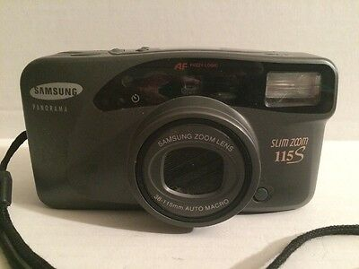 Vtg Samsung Panorama Slim Zoom 115s 38-115mm Point & Shoot Film Camera w/ case