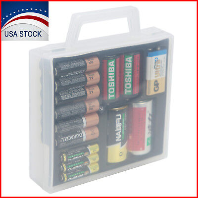 Battery Organizer Storage Case for AA AAA C D 9V Battery Container Box Plastic