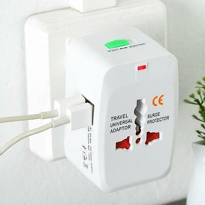 1x Universal Travel Adapter AU/US/UK/EU World AC Plug 2USB Power Outlet Charger.
