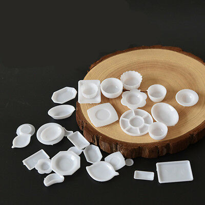 33Pcs/set Dollhouse Miniature Dish DIY Tableware Kitchen Mini Food Plates Toy