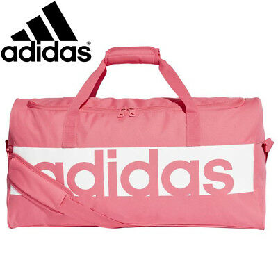 Adidas Womens Linear Pink / White Holdall Gym Bag Size M Rrp £30
