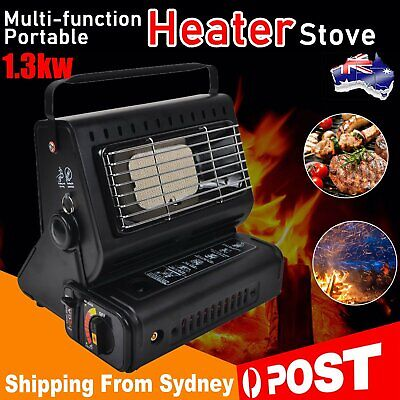 Portable Black Butane Heater Dual Use Stove Burner Picnic Gas He Outdoor Camping