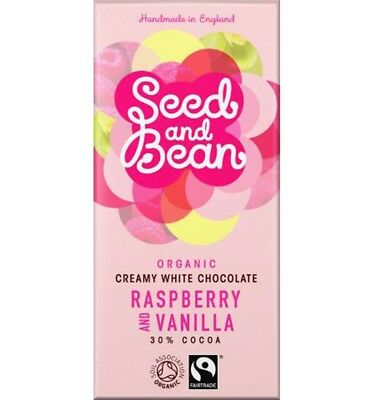 Seed & Bean Creamy White Chocolate Raspberry & Vanilla 85g bar x 8