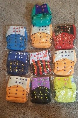 Lot of 10  New in Package  Cute Customs One Size Hybrid Adjustable Cloth Diapers