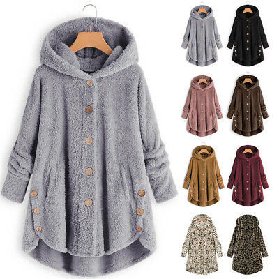 UK Womens Fluffy Fleece Hooded Coat Cardigans Lady Buttons Fashion Sweater Tops