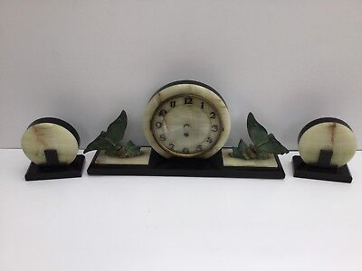 Art Deco Marble Mantle Clock And Garnitures