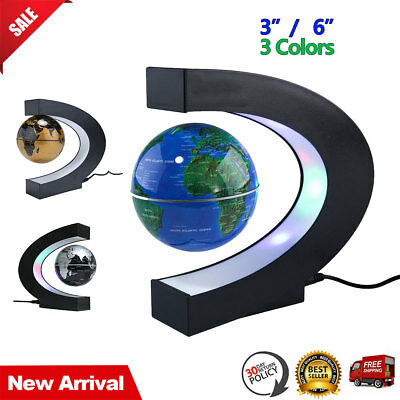 LED Magnetic Levitation Floating Globe World Map Night Light Decor Lamp C Shape