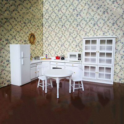 1/12Scale Dollhouse Miniature Kitchen Funiture Cabinet Refrigerator Set