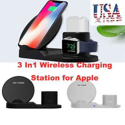 3 In1 Wireless Charger Stand for iPhone Apple Airpods Charging Station Charger