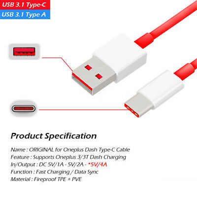 OEM Oneplus 6 Charger USB Type C Fast Dash Charging Charge Cable For 3 5 3T 5T 6