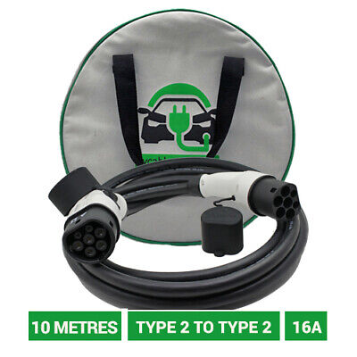 10 METRE Type 2 to Type 2 EV charger. 16A charging cable 10 metres. 5yr warranty