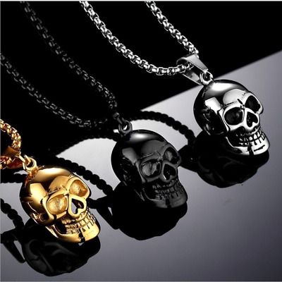 NEW Men's Fashion Punk Hip-hop plated Gold skull Necklace Stainless steel Jewell