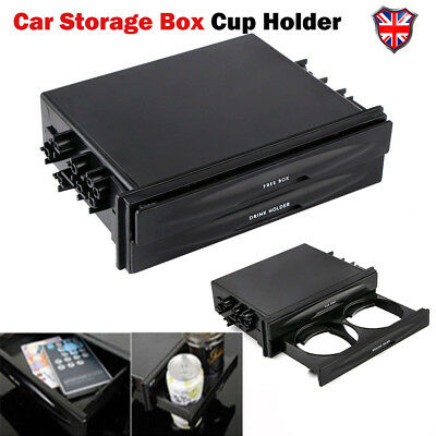 Universal Car Double Din Radio Pocket Installation Dash Storage Box Cup Holder