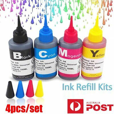 4x 100ml Color Ink Cartridge Refill Replacement Kit for HP Canon Printer yu